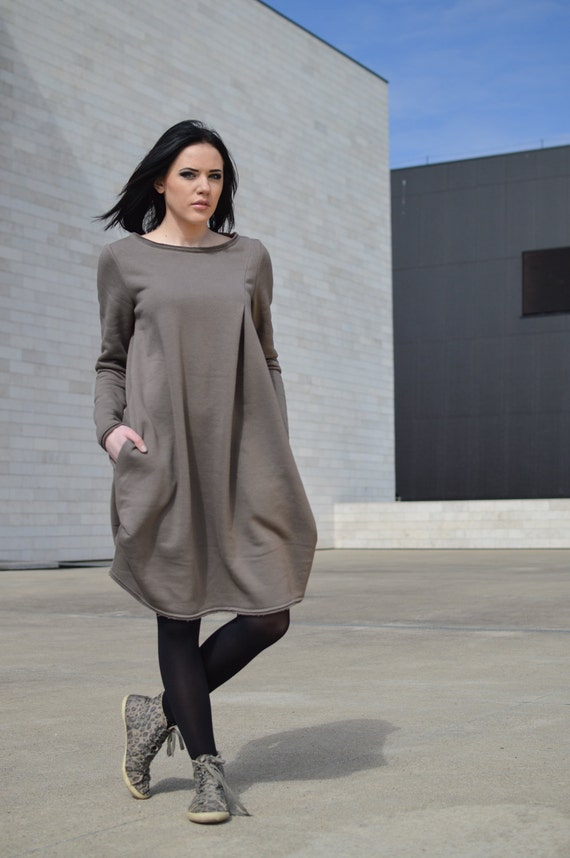 Heavy Casual Long Maternity dress Very Warm Dress Light Latte Dress Cotton tunic Dress Brown Cozy Duty dress Brown P8BZ5q5w