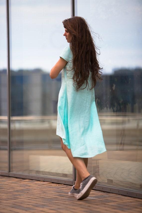 Blue linen Beach Mint dress dress linen clothing pockets with Light linen Fresh linen dress dress Linen dress dress summer Bohemian cFR4Bq064