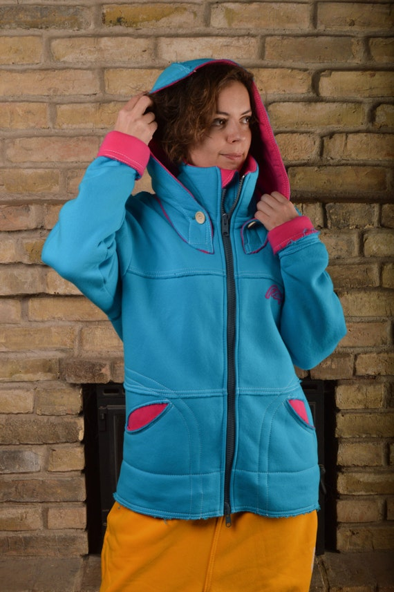 Pink woman for oversize Long big hoodie hoodie hoodie hoodie hoodie sweatshirt hoodie jacket colored for hood Blue cotton woman blue zvxdwqzZ