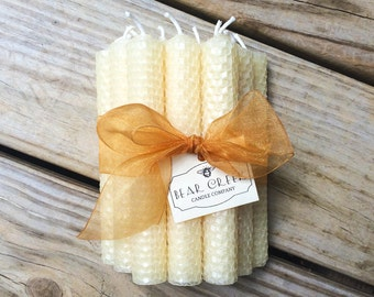 """One Dozen 6"""" Tall Hand Rolled Pure Beeswax Honeycomb Taper Candles"""