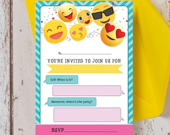 Ready to Write Emoji Themed Childrens Party Invitations Pack of 10