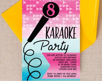 Personalised Karaoke themed Kids Party Invitation Cards and Envelopes
