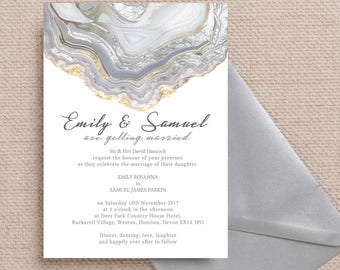 Personalised Agate Crystal Silver Grey Wedding Invitation & RSVP with envelopes