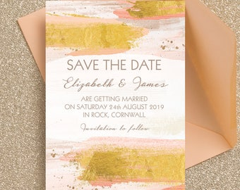 Personalised Blush Pink and Gold Brush Strokes Wedding Save the Date cards