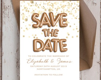 Personalised Rose Gold Balloons Wedding Save the Date cards.