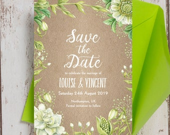 Personalised Rustic Greenery Wedding Save the Date cards