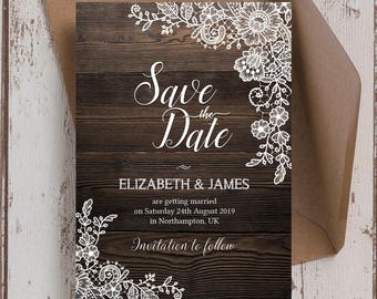 Personalised Rustic Wood & Lace Wedding Save the Date cards