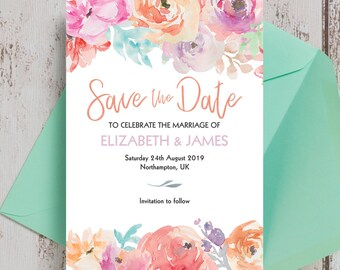 Personalised Pastel Floral Wedding Save the Date cards.