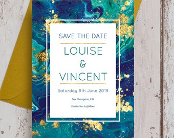 Personalised Teal & Gold Ink Wedding Save the Date cards.
