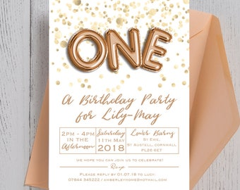 Personalised Gold Balloon Letters and Confetti Kids Birthday Party Invitation and envelope