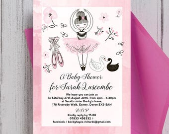 Personalised Baby Pink and White Prima Ballerina Baby Shower Invitation with Envelopes