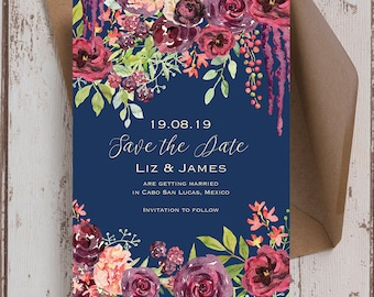 Navy Blue and Burgundy Floral Watercolour Wedding Save the Date cards & Envelopes, Printed or Digital