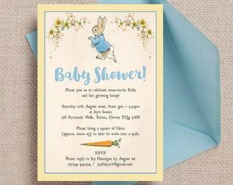 Beatrix potter inspired baby shower invitationbeatrix potter etsy personalised peter rabbit beatrix potter baby shower invitation cards filmwisefo