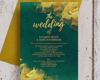 Personalised Emerald Green And Gold Wedding Invitation RSVP With Envelopes