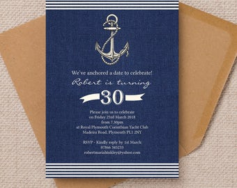 Personalised Mens Gents Nautical Sailing Themed Milestone Birthday Anniversary Party Invitations Envelopes