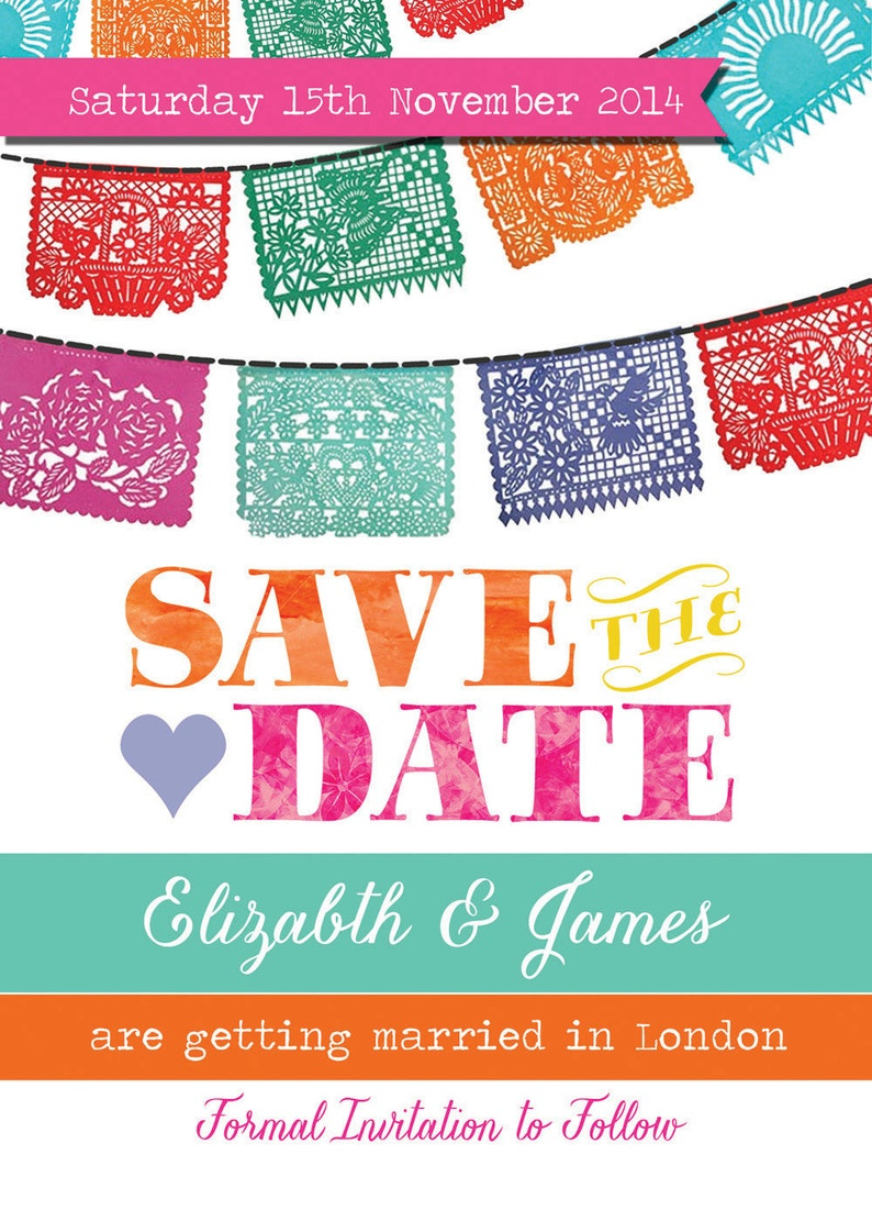 Mexican Fiesta Bunting Wedding Save the Date Cards