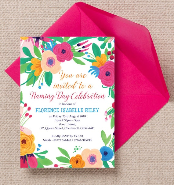 Personalised floral fiesta naming ceremony invitation cards etsy image 0 m4hsunfo