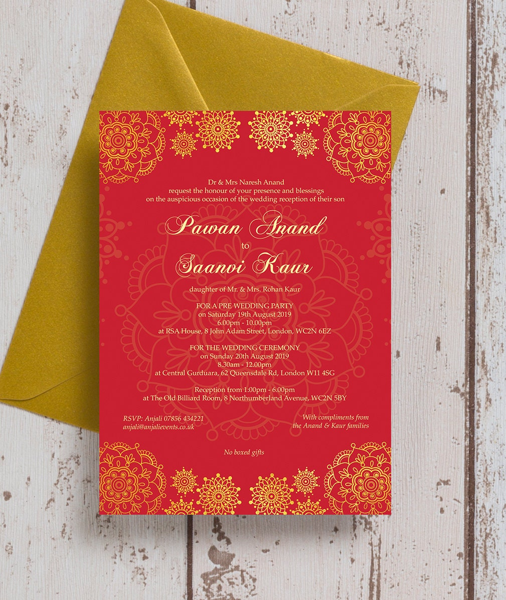 Personalised Red & Gold Asian Wedding Mehndi Invitation with | Etsy