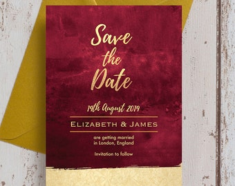 Burgundy and Gold Wedding Save the Date cards & Envelopes