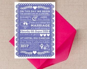 Personalised Indigo Blue Papel Picado Mexican Bunting Wedding Invitation & RSVP with envelopes