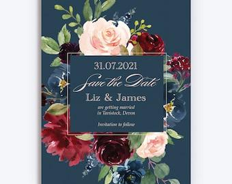 Navy, Burgundy and Blush floral frame Wedding Save the Date cards & Envelopes