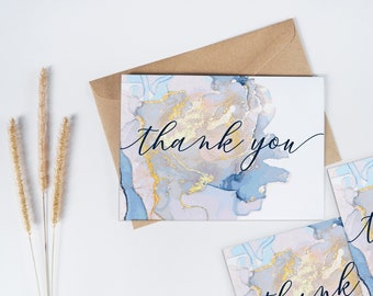 Pack of 10 Pastel Blue & Gold Marbled Ink Thank you / Note cards with Envelopes