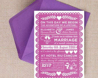Personalised Pink Papel Picado Mexican Bunting Wedding Invitation & RSVP with envelopes