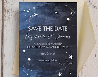 Constellation Stars Midnight Sky Blue Wedding Save the Date Card & Envelope