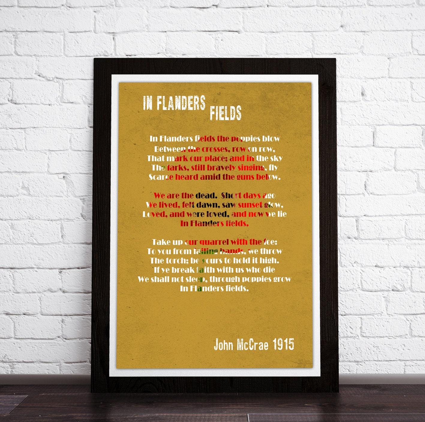 Typography print In Flanders Fields Poem John McCrae. | Etsy