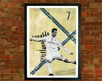 Cristiano Ronaldo Framed Print, Real Madrid FC Poster, Football art, Mid Century, Modernist Typography, Childrens Bedroom Art, Man Cave Art