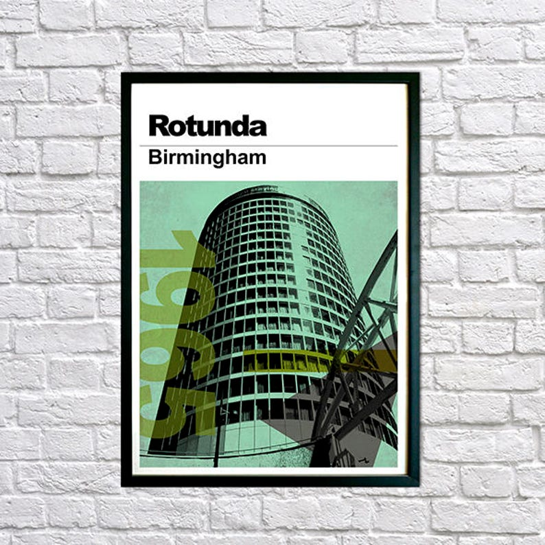 Wall Art Print Modernist Wall Art, Modernist Architecture Print Architectural Print Jim Roberts Modernist Print Rotunda Birmingham