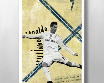 Cristiano Ronaldo Print, Real Madrid FC Poster, Football poster, Mid Century, Modernist Typography Print, Children Bedroom Art, Man Cave Art