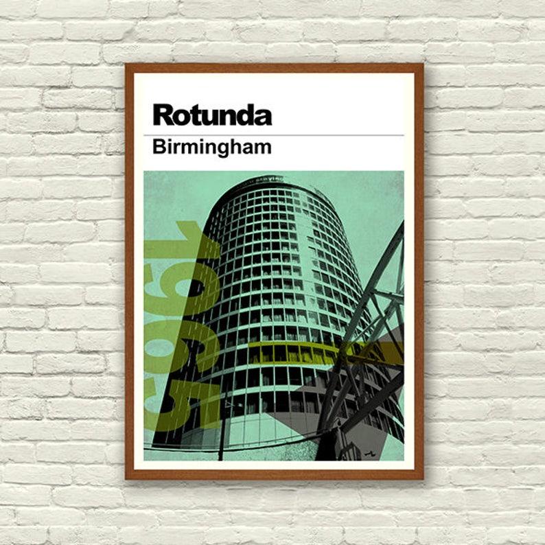 The Rotunda print Home Decor Birmingham Vintage Style Wall Print Digitally styled print of the Rotunda Brum Architecture Wall Decor
