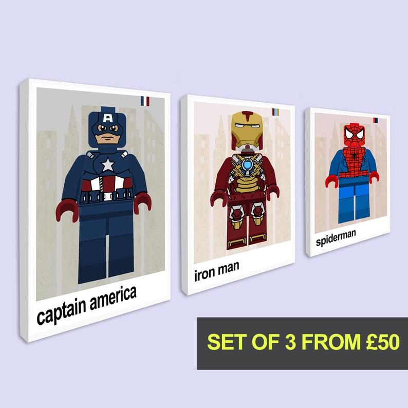 Set of 3 Prints, Superhero Canvas Prints for Childrens Bedroom, Set of 3  Canvas prints, Boys Bedroom Art, Superhero Wall Art for Playroom