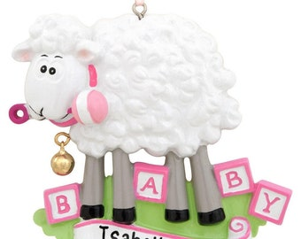 Personalized Pink Baby Sheep Ornament