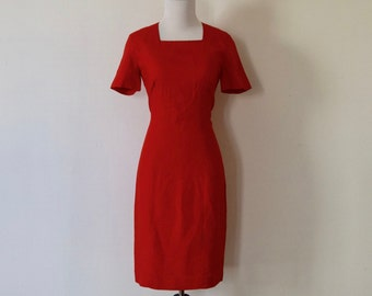 Vintage 1990's 'Rouge Classique' Bright Red Wiggle Dress Size S / M