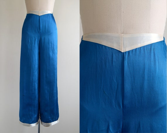 Vintage 1930s || 'Cobalt' || Royal Blue Satin Beac