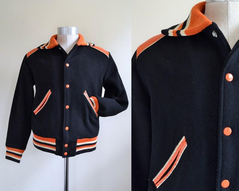 Size 36 /'Team Manager/' Orange-and-Black Wool Varsity Jacket with Leather Trim Vintage 1960s Small-Medium
