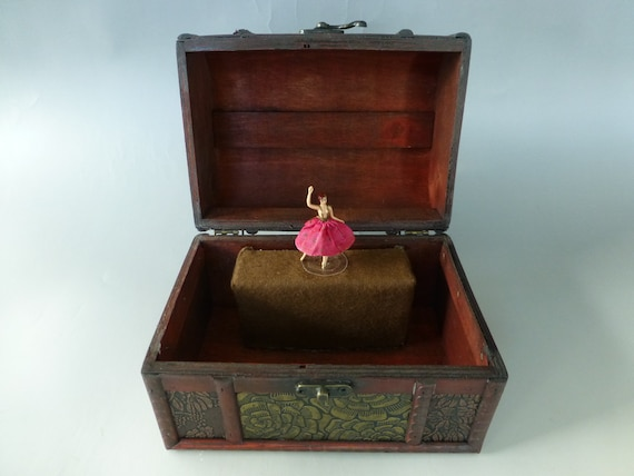 Vintage Swiss Reuge Dancing Ballerina Musical Jewelry Box Automaton Fully Serviced Works Beautifully