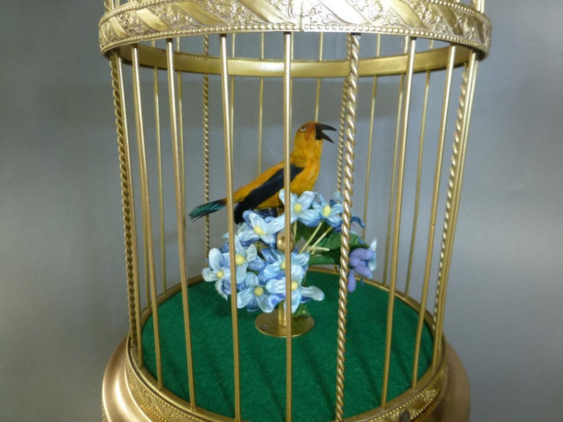 Top Quality German singing bird cage music box automaton fully restored and  serviced works perfectly