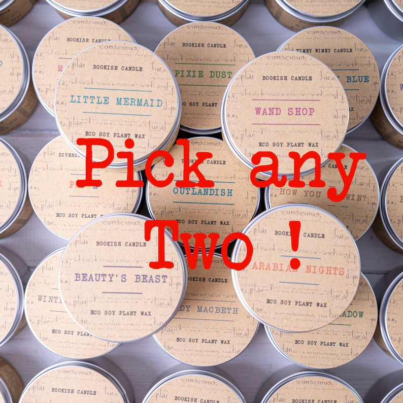Bookish Candles  Pick Any 2 x 125ml Eco Soy Plant Wax Candles image 0