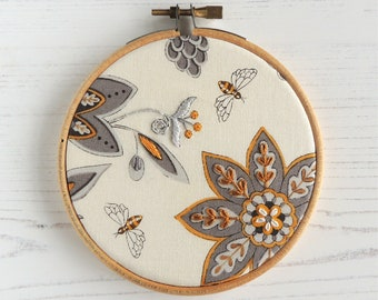 Hand embroidered honey bee hoop art moda fabric hand stitched detail small decor wall art hand embroidery small hoop art gifts under 30