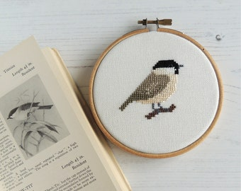 cross stitch bird willow tit design, small cross stitch pattern, small bird cross stitch pattern, bird embroidery design