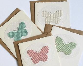 butterfly card, birthday card, cross stitch card, embroidered card, hand embroidered card, cross stitch butterfly, keepsake card