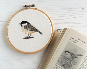 small bird cross stitch pattern coal tit British bird wildlife embroidery design, coal tit pattern, small bird design