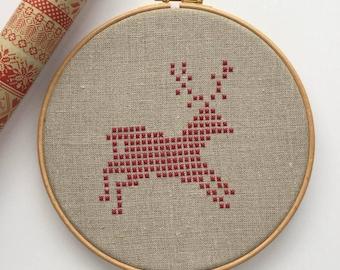 Christmas embroidery pattern, Christmas cross stitch, modern christmas decor, DIY Christmas, solstice decor, modern farmhouse
