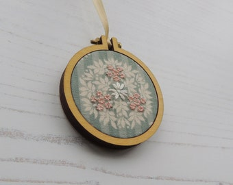 Embroidered ornament, embroidered door hanger, embroidered decoration, hand embroidered decoration, embroidered flowers, hand embroidery