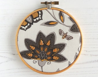 Hand embroidered honey bee hoop art moda fabric wall art hand embroidery small hoop art gifts under 30 hand stitched detail small decor