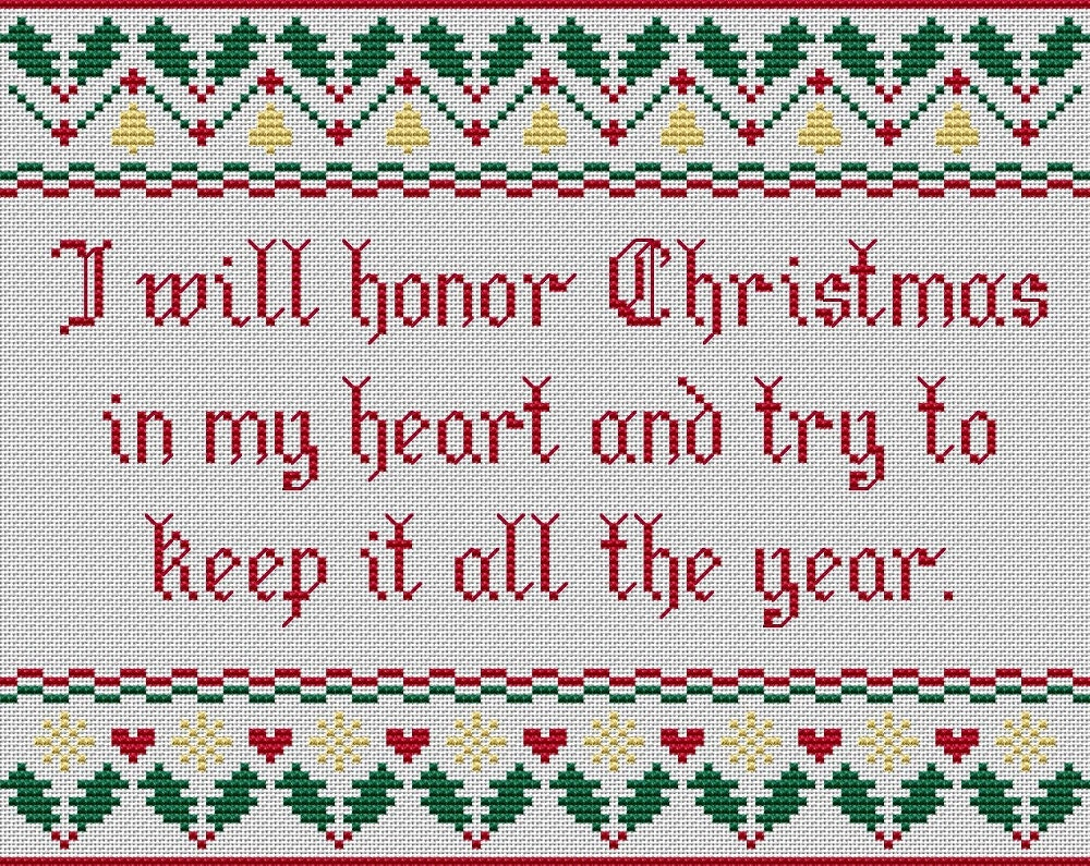 Christmas cross stitch. I Will Honor Christmas. | Etsy
