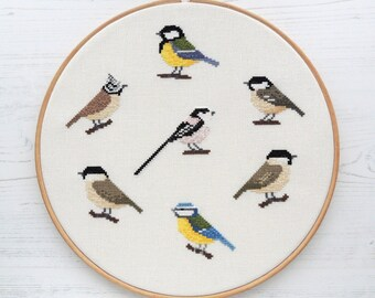 cross stitch bird sampler chart pack, British tit birds cross stitch pattern, titmice cross stitch design, bird pattern set, bird chart pack